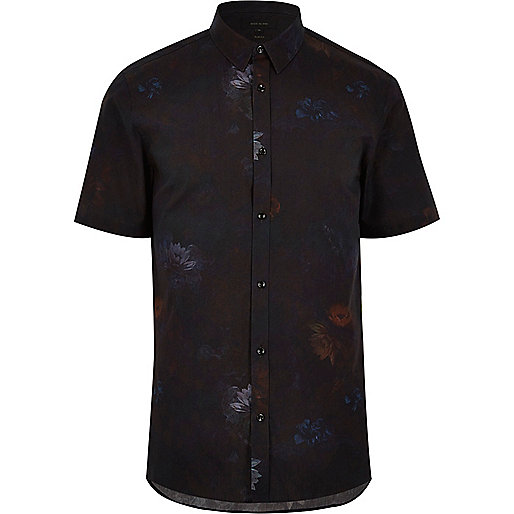 Black waterlily print slim fit shirt