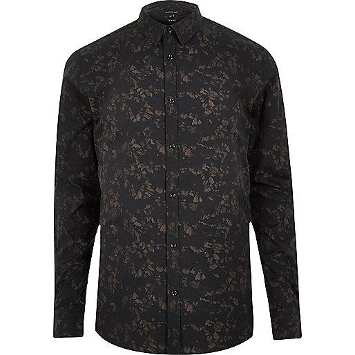 Black gravel print slim fit shirt
