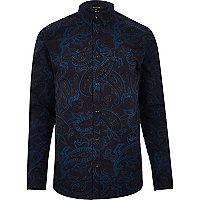 Marineblaues, schmales Hemd mit Paisleymuster