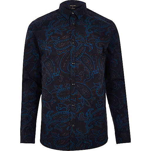 Navy paisley print slim fit shirt