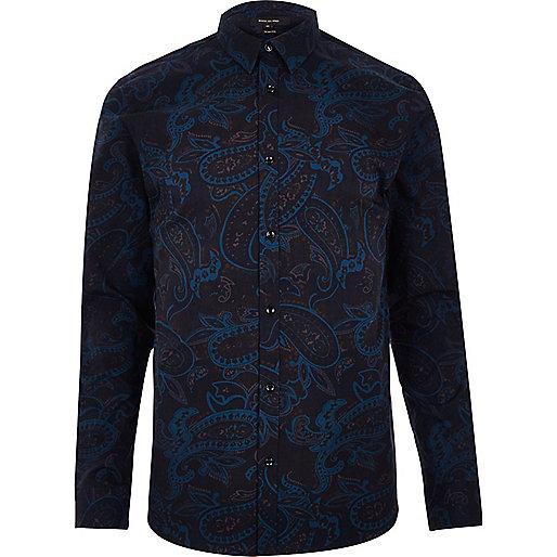 Navy paisley print slim fit shirt