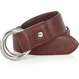Brown pin buckle belt