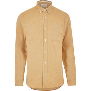 Orange twill placket detail shirt