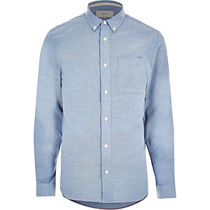 Blue twill placket detail shirt