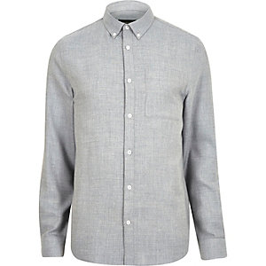 Blue casual herringbone shirt