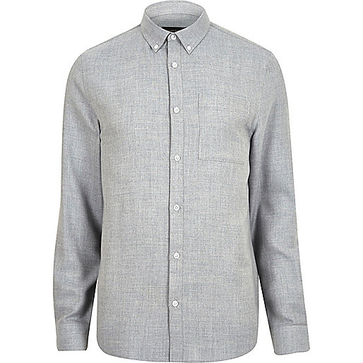 Blue casual herringbone shirt