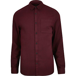 Red herringbone shirt