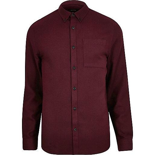 Red casual herringbone shirt