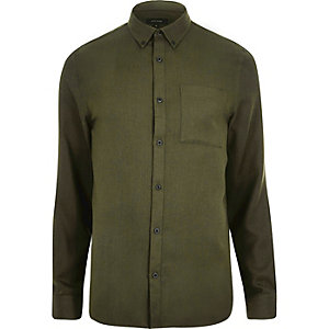 Green herringbone shirt