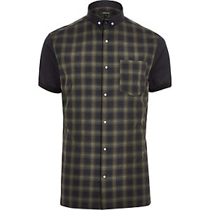 Khaki checked slim fit shirt