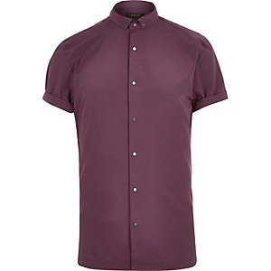 Red check popper short sleeve shirt