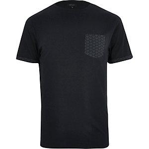 Navy fan print pocket t-shirt