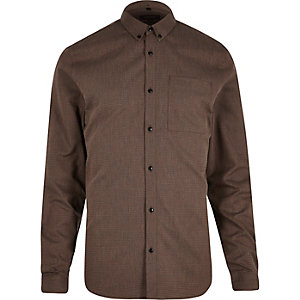 Brown zig zag textured slim fit shirt