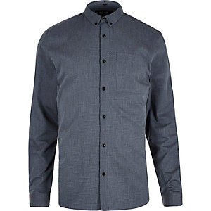 Blue zig zag textured shirt