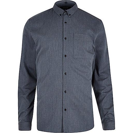 Chemise à zigzags bleue texturée cintrée