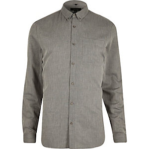Grey diamond textured slim fit shirt