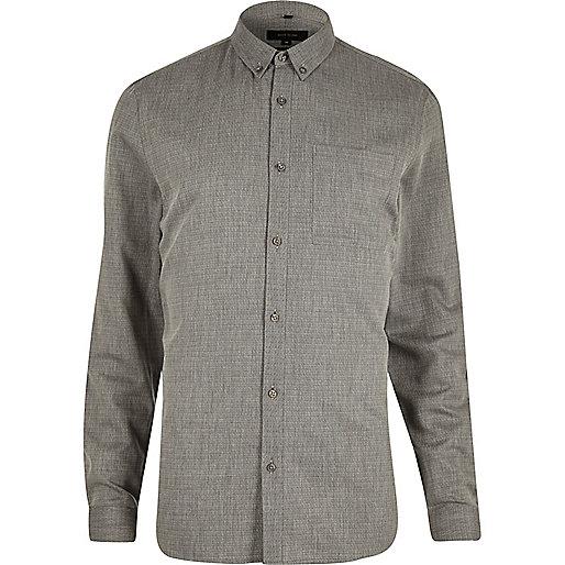 Chemise à losanges grise texturée cintrée
