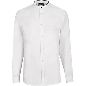 White grandad slim shirt