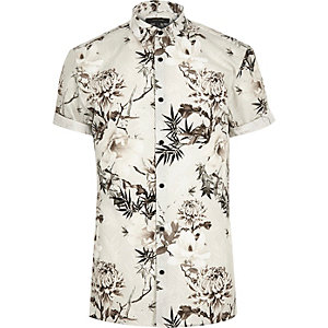 White floral print slim fit shirt