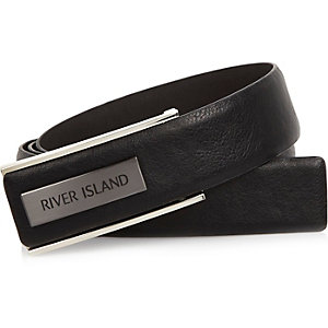 Black branded plate belt