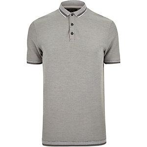Grey jacquard polo shirt