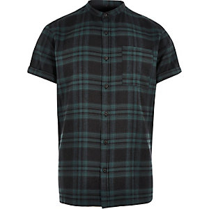 Green check short sleeve grandad shirt