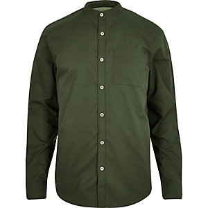 Green grandad collar twill shirt