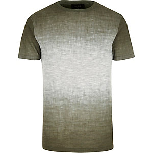 Dark green faded texture t-shirt