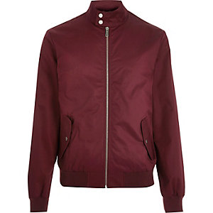 Red funnel neck harrington jacket