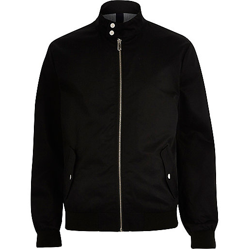 Black funnel neck harrington jacket