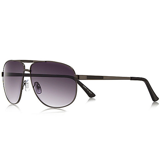 Grey aviator-style sunglasses