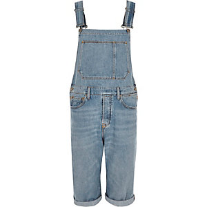 Light blue wash cropped overalls