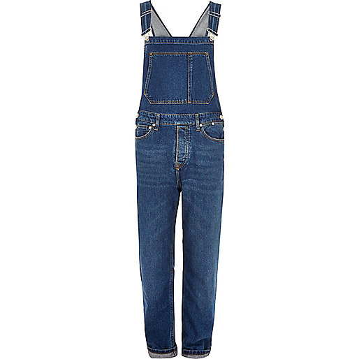 Mid blue wash dungarees