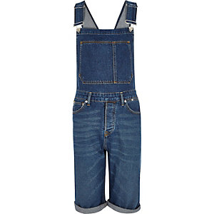 Mid blue wash cropped dungarees
