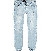 Pantalon de jogging Ryan bleu clair délavé style motard
