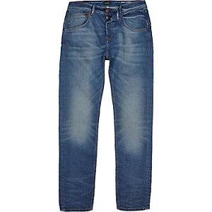 Mid blue wash Pete skinny tapered jeans