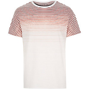 White faded stripe print t-shirt