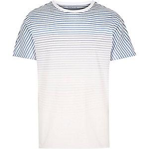 White faded stripe print t-shirt