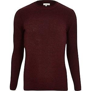 Burgundy ribbed slim fit jumper