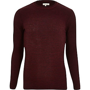Dark red ribbed slim fit sweater