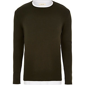 Dark green layered longline sweater