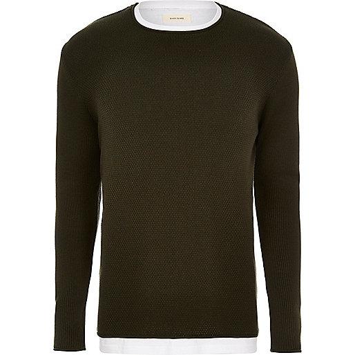 Dark green layered longline sweater