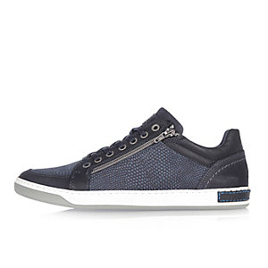 Navy croc leather sneakers
