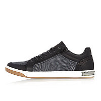 Black croc leather sneakers