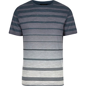 Ecru faded stripe print t-shirt