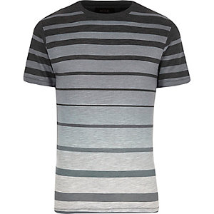 Black faded stripe print t-shirt