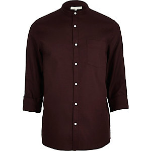 Red grandad collar shirt