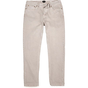 Ecru slim tapered jeans