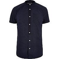 Marineblaues kurzärmliges Grandad-Hemd aus Twill