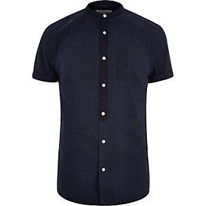Chemise en sergé bleu marine à manches courtes style grand-père